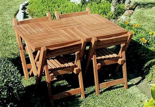 """Stackable space saving folding chairs - Rectangular Folding Table (Options: 52.5"""" L, 4 Folding Chairs, 35"""" W, Old-Growth Redwood, Standard Tabletop, Checkerboard Design, No Umbrella Hole, Squared Corners, Transparent Premium Sealant)."""