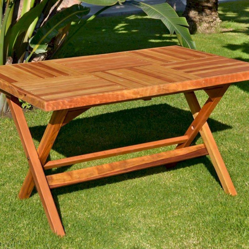"Rectangular Folding Table (Options: 52.5"" L, 35'' W, No Seating, Redwood, Standard Tabletop, Checkerboard Design Tabletop, Squared Corners, No Umbrella Hole, Transparent Premium Sealant)."