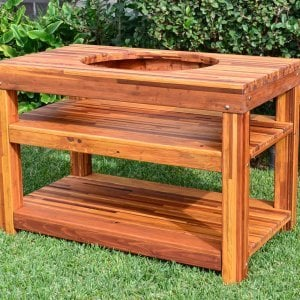 """The Ultimate BBQ Table (Options: 6' L, 28 3/4"""" W, Mosaic Eco-Wood, Add Extra Shelv, Rounded Corners, 30""""H, 18-inch Grill Opening, 20-inch Grill Support Shelf Height, Transparent Premium Sealant). Legs aligned to tabletop by custom request."""