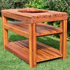 """The Ultimate BBQ Table (Options: 6' L, 28 3/4"""" W, Mosaic Eco-Wood, Two Shelves, Rounded Corners, 30""""H, 18-inch Grill Opening, 20-inch Grill Support Shelf Height, Transparent Premium Sealant). Legs aligned to tabletop by custom request."""