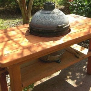 Outdoor Wood Table With Builtin Grill Storage Forever Redwood - Picnic table with grill built in