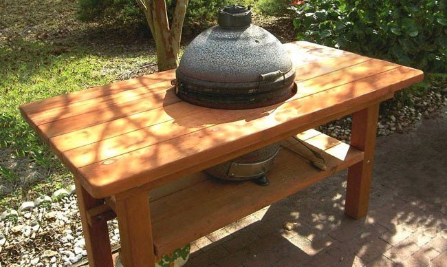 """The Ultimate BBQ Table (Options: 6' L, 34 1/2"""" W, Douglas-fir, No Extra Shelf, 32"""" H, Grill support Shelf Height 10"""" Inches, Squared Corners, 16"""" Inches Grill Opening , Transparent Premium Sealant). Legs recessed by custom request."""