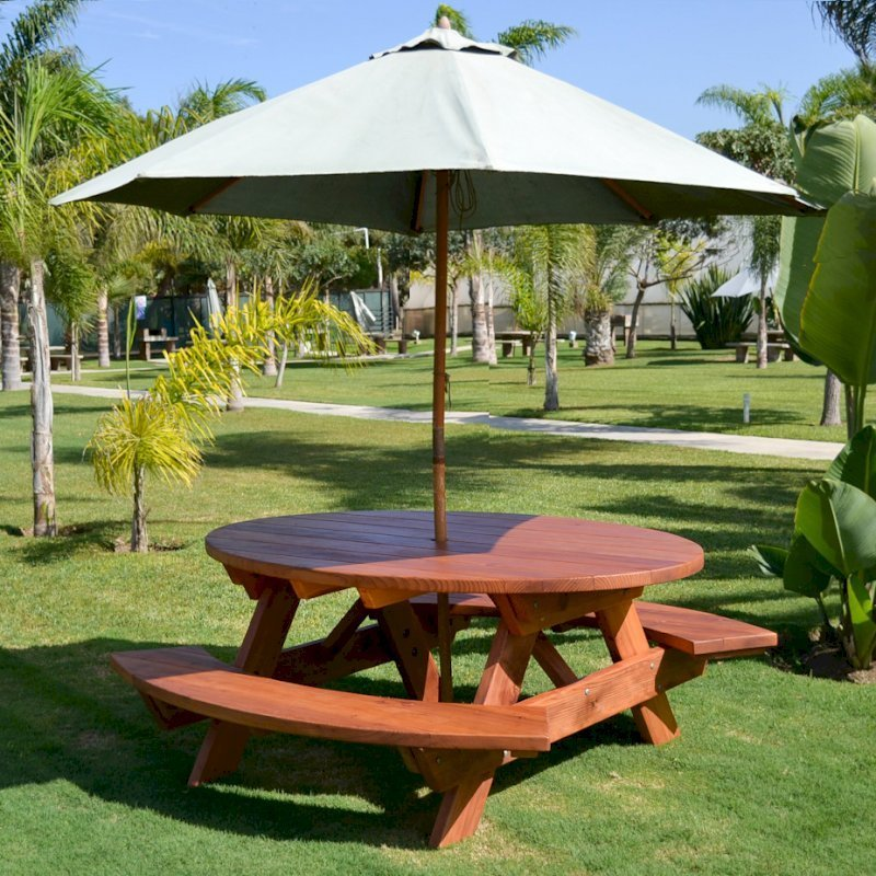 Oval Picnic Table (Options: Oval, Attached Side Benches, Redwood, Standard Tabletop, Umbrella Hole, Transparent Premium Sealant). Umbrella not included.