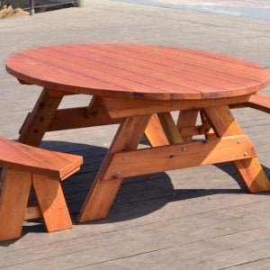 Oval Picnic Table (Options: Oval XL, Unattached Side Benches, Redwdood, Standard Tabletop, No Umbrella Hole, Transparent Premium Sealant).