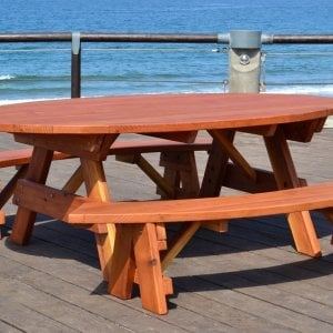 Oval Picnic Table (Options: Oval XL, Unattached Side Benches, Redwood, Standard Tabletop, No Umbrella Hole, Transparent Premium Sealant).