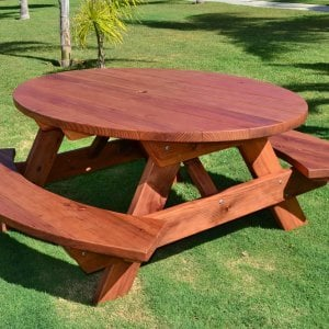 Oval Picnic Table (Options: Oval, Attached Side Benches, Redwood, Standard Tabletop, Umbrella Hole, Transparent Premium Sealant).