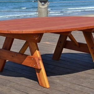 Oval Picnic Table (Options: Oval XL, No Seating, , Redwdood, Standard Tabletop, No Umbrella Hole, Transparent Premium Sealant).