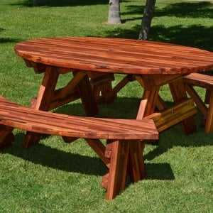Oval Picnic Table (Options. Oval XL, Unattached Side Benches, Mosaic Eco-Wood, Standard Tabletop, Umbrella Hole, Transparent Premium Sealant).