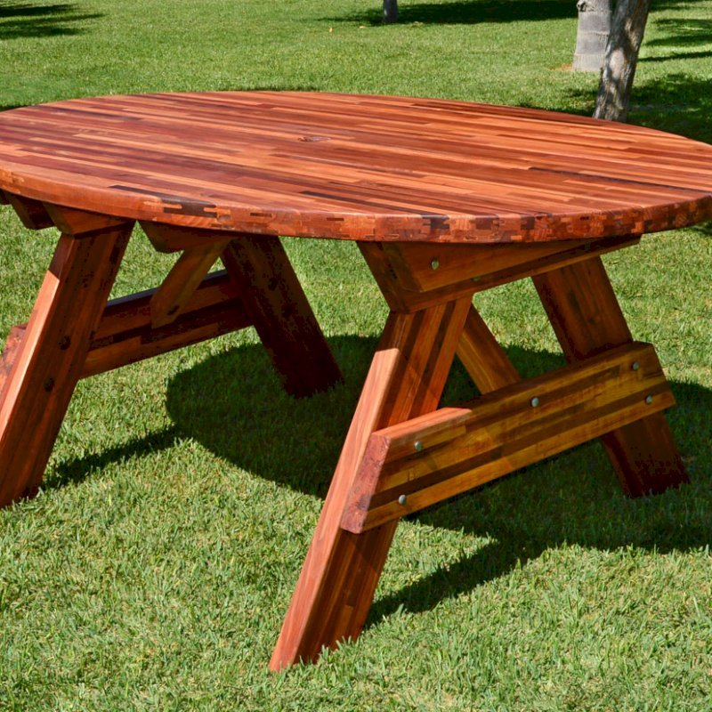 Oval Picnic Table (Options. Oval XL, No Seating, Mosaic Eco-Wood, Standard Tabletop, Umbrella Hole, Transparent Premium Sealant).