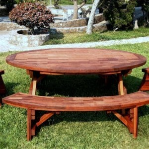 "Oval Picnic Table (Options: 88"" L, Unattached End and Side Benches, Mature & Old-Growth Redwood, Parquet Tabletop, No Umbrella Hole, Transparent Premium Sealant)."