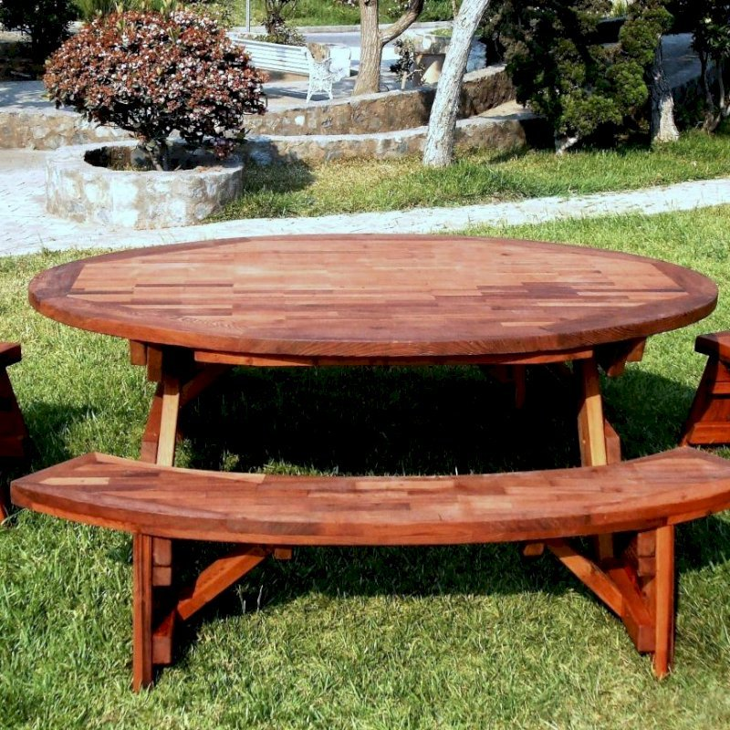 """Oval Picnic Table (Options: 88"""" L, Unattached End and Side Benches, Mature & Old-Growth Redwood, Parquet Tabletop, No Umbrella Hole, Transparent Premium Sealant)."""