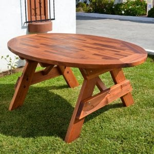"Oval Picnic Table (Options: 71""L, No Seating, Old-Growth Redwood, Parquet Tabletop, No Umbrella Hole, Transparent Premium Sealant)."