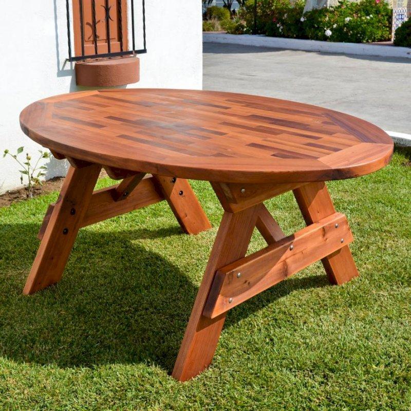 "Oval Picnic Table (Options: 71""L, No Seating, Old-Growth Redwood, Parquet Tabletop, No Umbrella Hole, Transparent Premium Sealant)."