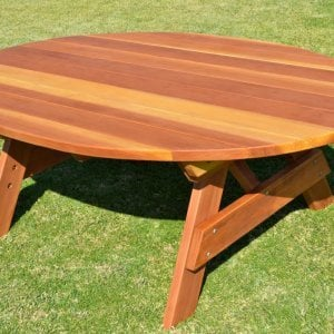 Oval Picnic Table (Options. Oval XL, No Seating, Redwood, Standard Tabletop, No Umbrella Hole, Transparent Premium Sealant).