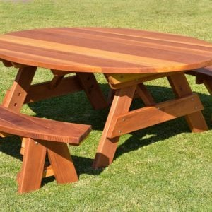 Oval Picnic Table (Options. Oval XL, Unattached Side Benches, Redwood, Standard Tabletop, No Umbrella Hole, Transparent Premium Sealant).