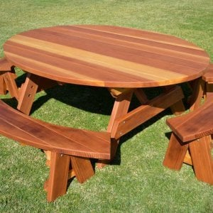 Oval Picnic Table (Options. Oval XL, Unattached Side & End Benches, Redwood, Standard Tabletop, No Umbrella Hole, Transparent Premium Sealant).