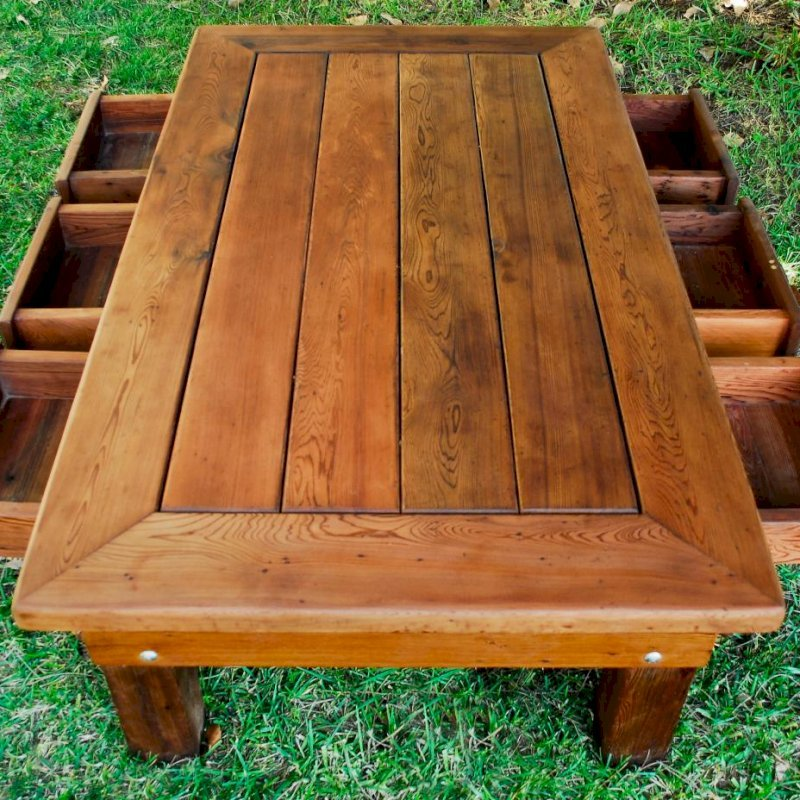 "Massive Coffee Table (Options: 72"" x 36"" x 18"" H, Old-Growth Redwood, 6 Drawers, Transparent Premium Sealant)."