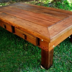 "Massive Coffee Table (Options: 72"" x 36"" x 18"" H, Old-Growth Redwood, Standard Tabletop, 6 Drawers, Transparent Premium Sealant)."