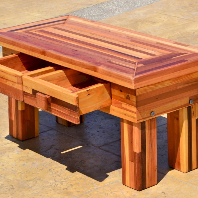 "Massive Coffee Table (Options: 36""L x 18"" W x 18"" H, Mosaic Eco-Wood, 2 Drawers, Transparent Premium Sealant)."