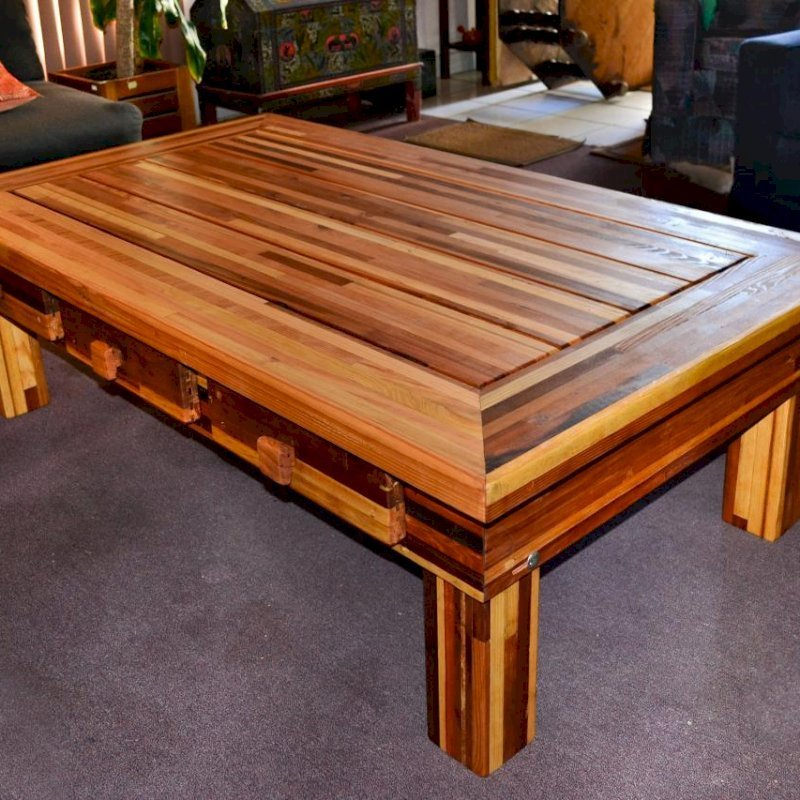"Massive Coffee Table (Options: 60""L x 30"" W x 18"" H, Mosaic Eco-Wood, 6 Drawers, Standard Tabletop, Transparent Premium Sealant)."