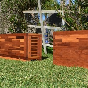 "Parquet Planters (Options: Left [72in L x 12in W x 18in H with Uniform Corners] Right [24in L x 12in W x 18in H with Parquet Corners], Mosaic Eco-Wood, 1"" Feet, No Trellis, Interior of Planter without Sealant - Growing Vegetables, Transparent Premium Sealant)."