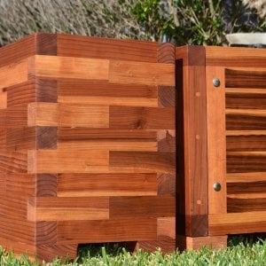 "Parquet Planters (Options: Left [24in L x 12in W x 18in H with Parquet Corners] Right [72in L x 12in W x 18in H with Uniform Corners], Mosaic Eco-Wood, 1"" Feet, No Trellis, Interior of Planter without Sealant - Growing Vegetables, Transparent Premium Sealant)."