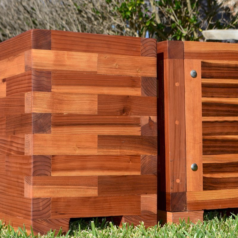 """Parquet Planters (Options: Left [24in L x 12in W x 18in H with Parquet Corners] Right [72in L x 12in W x 18in H with Uniform Corners], Mosaic Eco-Wood, 1"""" Feet, No Trellis, Interior of Planter without Sealant - Growing Vegetables, Transparent Premium Sealant)."""