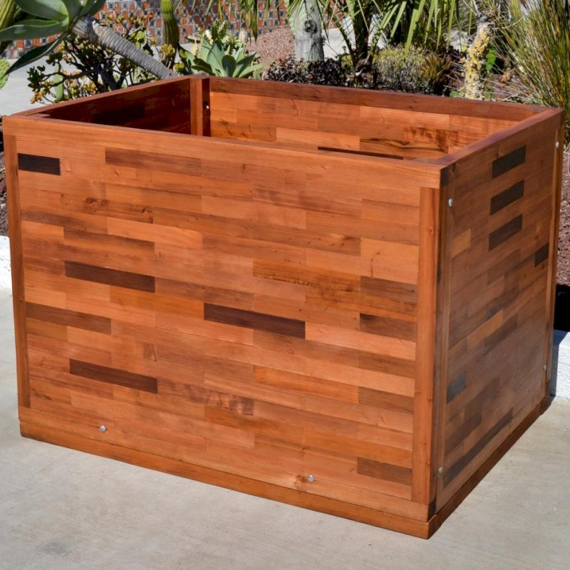 Parquet Planter (Options: 48in L x 36in W x 36in H, Mature & Old-Growth Redwood, Uniform Corners, No Base or Casters, No Trellis, No Growing Vegetables, Transparent Premium Sealant).