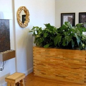 Parquet Planter (Options: 60in L x 18in W x 18in H, Douglas-Fir, Parquet Corners, No Base or Casters, No Trellis, No Growing Vegetables, Transparent Premium Sealant). Foot Stool (17in L x 11in W x 13in H also Douglas-Fir). Photo Courtesy of Mr. Angel Nieves of Cowlicks Japan, 137 West 1