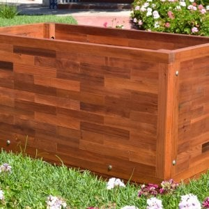 Parquet Planter (Options: 48in L x 24in W x 24in H, Mature & Old-Growth Redwood, Uniform Corners, Feet, No Trellis, No Growing Vegetables, Transparent Premium Sealant).