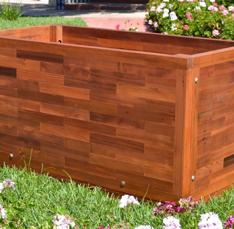 Parquet Planter (Options: 48in L x 24in W x 24in H, Mature & Old-Growth Redwood, Uniform Corners, Feet, No Trellis, No Growing Vegetables, Transparent Premium Sealant).