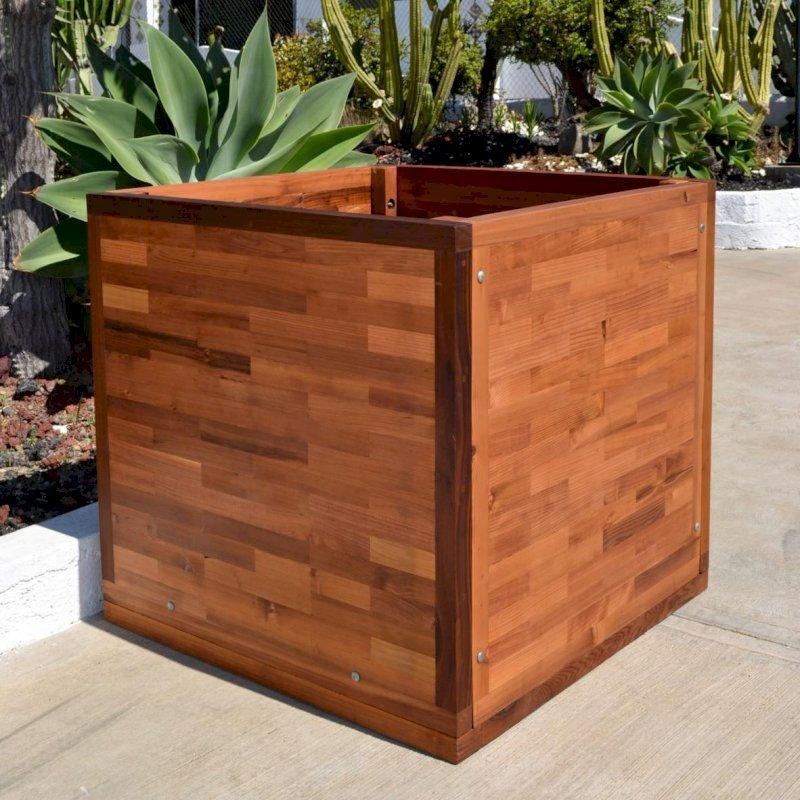 Parquet Planter (Options: 36in L x 36in W x 36in H, Mature & Old-Growth Redwood, Uniform Corners, Feet, No Trellis, No Growing Vegetables, Transparent Premium Sealant).