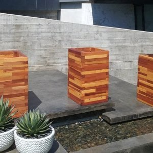 Parquet Planters (Options: Left [24in L x 24in W x 30in H], Center and Right [24in L x 18in W x 30in H], Mosaic Eco-Wood, No Base or Casters, No Trellis, Interior of Planter with Sealant - No Growing Vegetables, Transparent Premium Sealant). Photo Courtesy of M. Stratton of Los Angeles, CA.