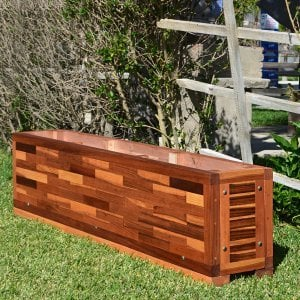 "Parquet Planter (Options: 72in L x 12in W x 18in H, Mosaic Eco-Wood, Uniform Corners, 1"" Feet, No Trellis, Interior of Planter without Sealant - Growing Vegetables, Transparent Premium Sealant)."