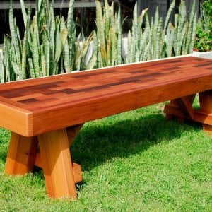 Parquet Bench (Options: 6 ft L x 17 3/4 inches W x 18 1/2 inches H,  Mature Redwood, No Cushion, No Engraving, Transparent Premium Sealant).
