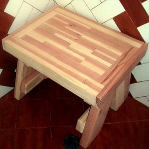"Parquet Shower Bench (Options: 2 ft, Redwood, 18 1/2"" H, 17 3/4"" W, No Engraving, Unfinished)."