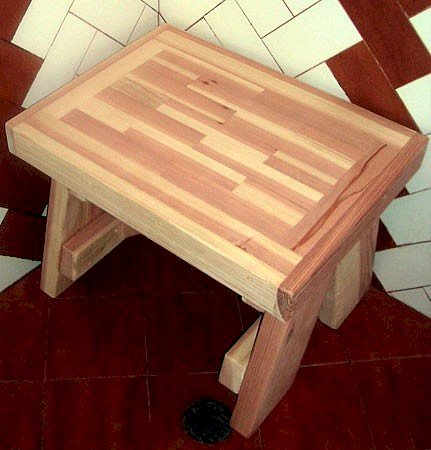 """Parquet Shower Bench (Options: 2 ft, Redwood, 18 1/2"""" H, 17 3/4"""" W, No Engraving, Unfinished)."""