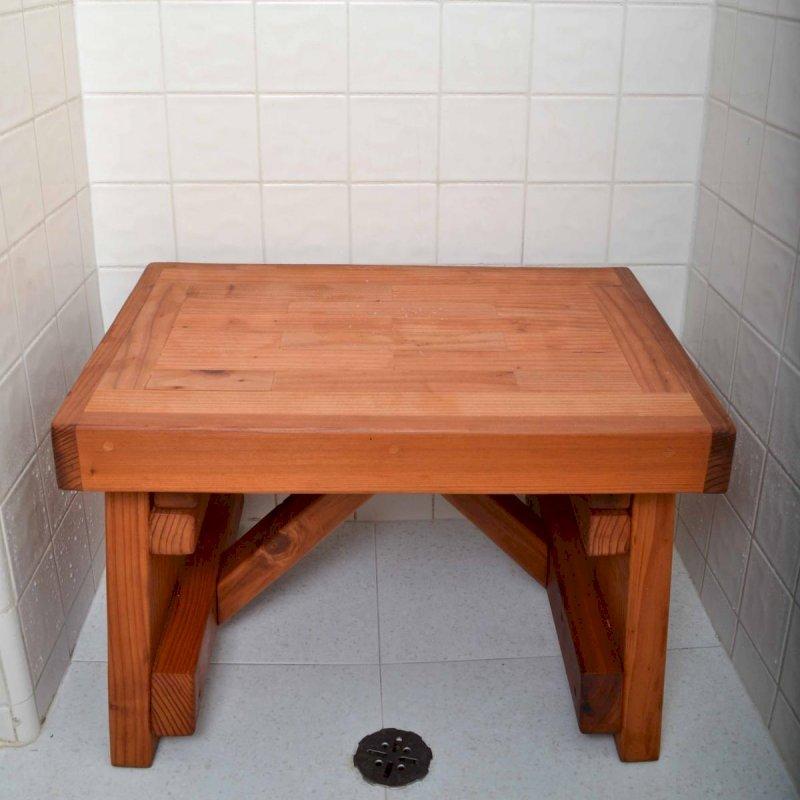 """Parquet Shower Bench (Options: 2 ft, Redwood, 15 1/2"""" H, 16""""W, No Engraving, Transparent Premium Sealant)."""