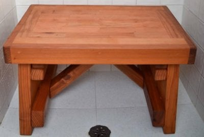 Parquet Wooden Shower Bench