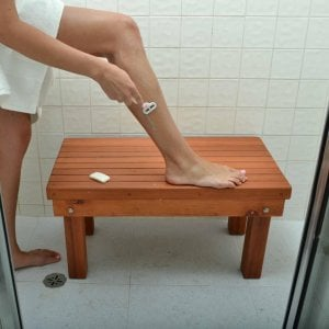 """Patio Wood Shower Bench (Options: 2 1/2 ft x15 1/2"""" H x 16"""" W, Mature Redwood, Transparent Premium Sealant). Photo Courtesy of Ms. Hayley Hall of Sonoma, CA"""