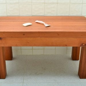 "Patio Wood Shower Bench (Options: 2 1/2 ft x 15 1/2"" H x 16"" W, Mature Redwood, Transparent Premium Sealant)."