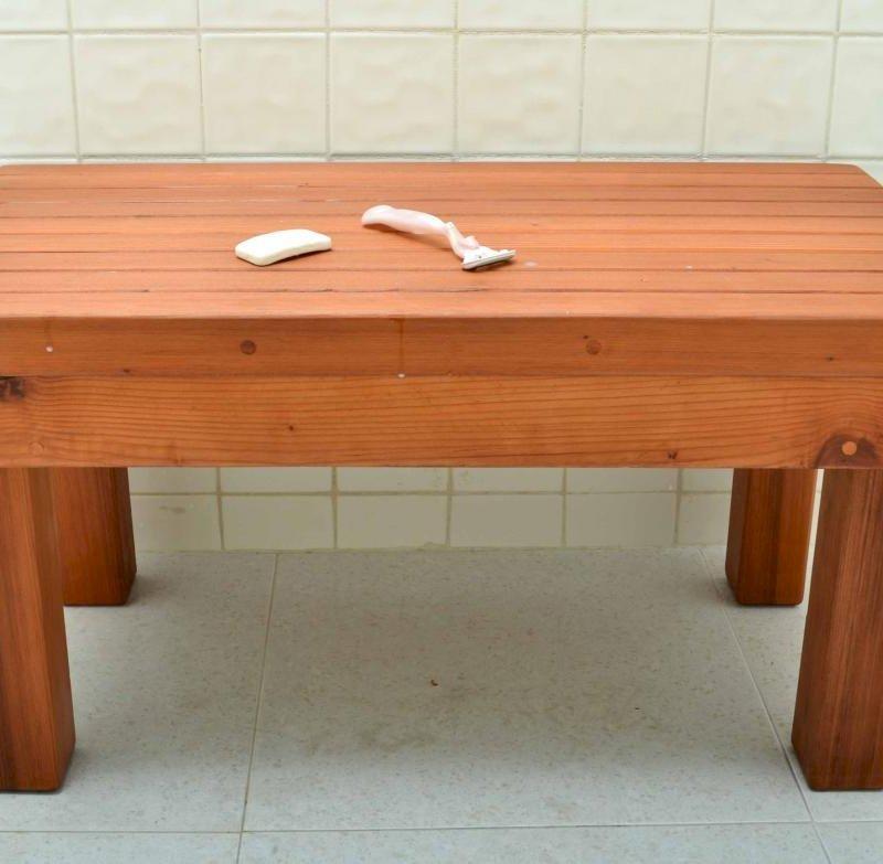 """Patio Wood Shower Bench (Options: 2 1/2 ft x 15 1/2"""" H x 16"""" W, Mature Redwood, Transparent Premium Sealant)."""