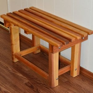 "Paty's Wooden Shower Bench (Options: 2 1/2 ft, Redwood, 17"" H, 14 1/4"" W, No Engraving, Transparent Premium Sealant)."