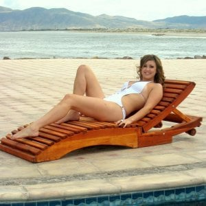 "Penny Wooden Sun Lounger (Options: Single, Redwood, Snack Trays on Right Side, 13"" H, Wheels, No Cushion,Transparent Premium Sealant). Model: Ms. Hayley Hall of Sonoma County, CA."