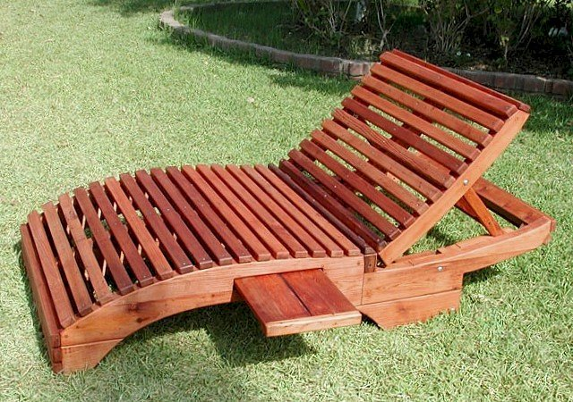 "Penny Wooden Sun Lounger (Options: Honeymoon, Mature Redwood, Snack Trays on Both Sides, 18"" H, No Wheels, No Cushion,Transparent Premium Sealant)"