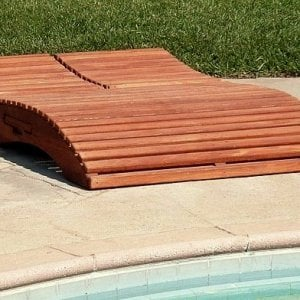 "Lightning McQueen? No, its Penny's Lounger! Penny Wooden Sun Lounger (Options: Double, Mature Redwood, Snack Trays on Both Sides, 13"" H, Wheels, No Cushion,Transparent Premium Sealant)"