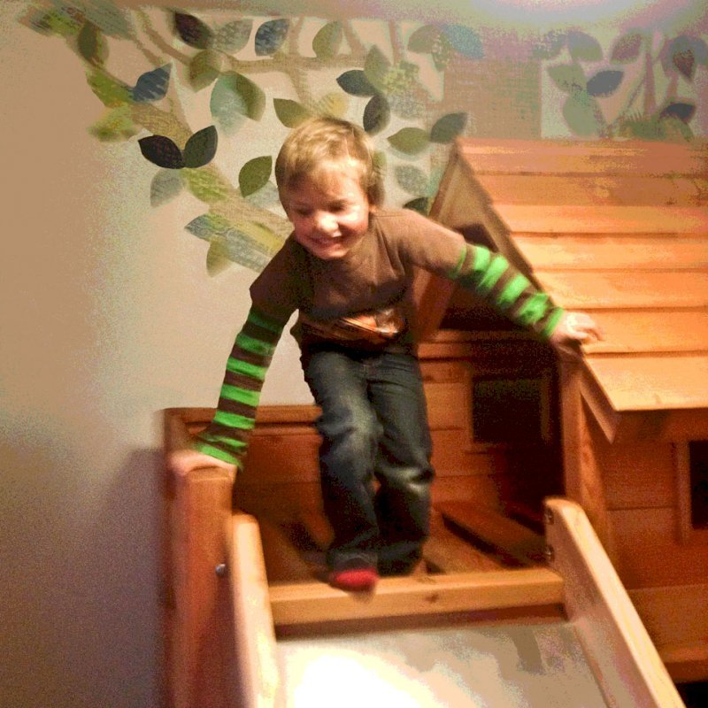 Playhouse Bed (Options: Douglas-fir, Transparent Premium Sealant). Photo is a bit blurry, but we figured the kids smile more than made up for it!