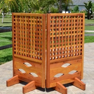 Poolside Privacy Panel (Options: 2-Panel, 4-Ft tall, Redwood, 18-inch Boots, Transparent Premium Sealant).