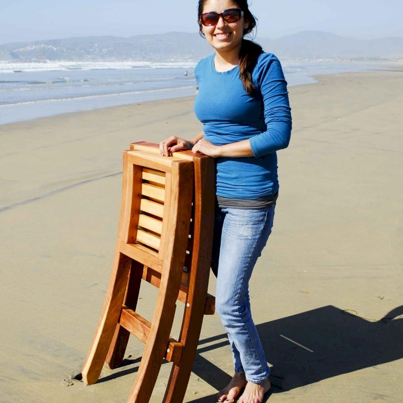 JUST 2 PARTS FOR EASY TRANSPORT: Portable Beach Chair (Options: Redwood, Transparent Premium Sealant).  Photo Courtesy of Ms. Gladys Carlotta, Ensenada, Mexico.