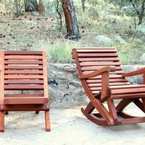 COMPARISON: The Portable Beach Chair and The Ensenada Rocker. Both in Old Growth with Transparent Premium Sealant.
